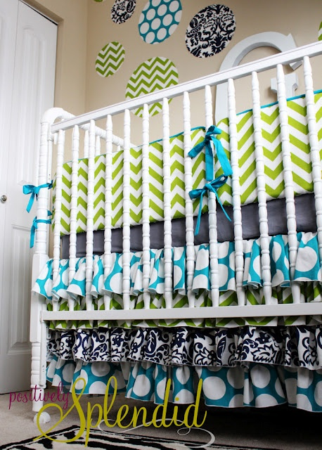 DIY Crib Bedding: Color Schemes, Beds Skirts, Baby Beds, Nurseries Beds, Cribs Beds, Ruffles Cribs Skirts, Cribs Skirts Tutorials, Baby Rooms, Crib Skirts