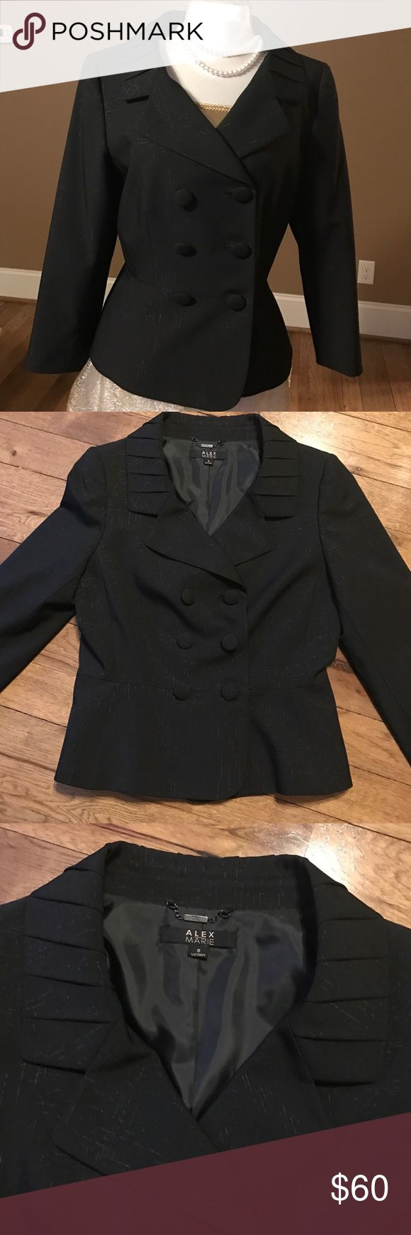 Fancy Suit Jacket Black and shiny very nice Jacket . Like new conditions worn once at a wedding. From Pet and smoke free home Alex Marie Jackets & Coats
