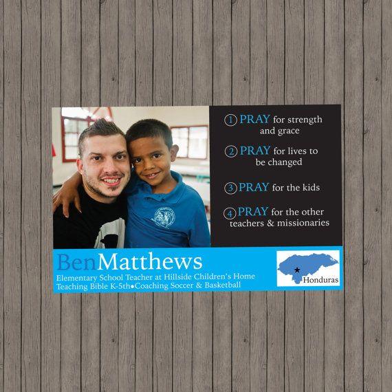 Custom Prayer Card  Missionary Prayer Card  by bellapapercompany