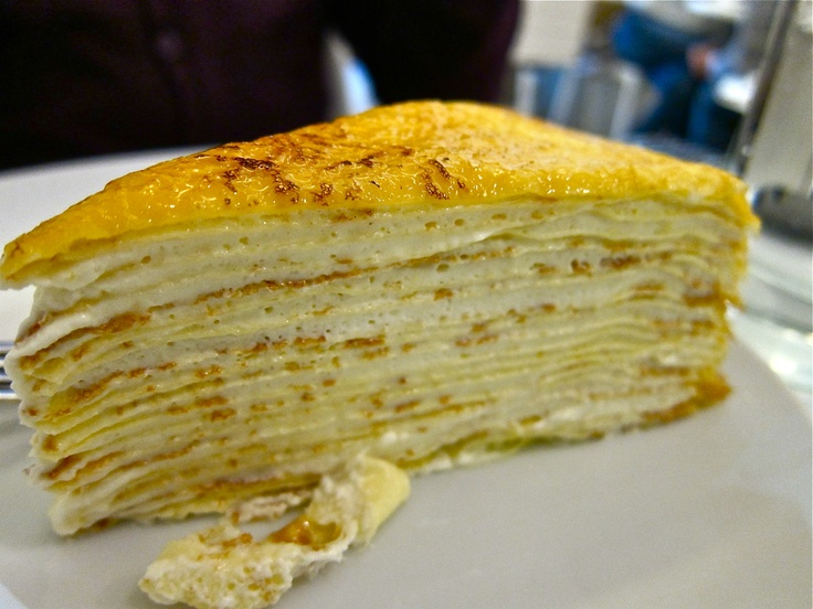 "Lady M's signature cake, the intricate ""Mille Crepe"" - 20 paper-thin hand made crepes layered with ethereally light and creamy custard 