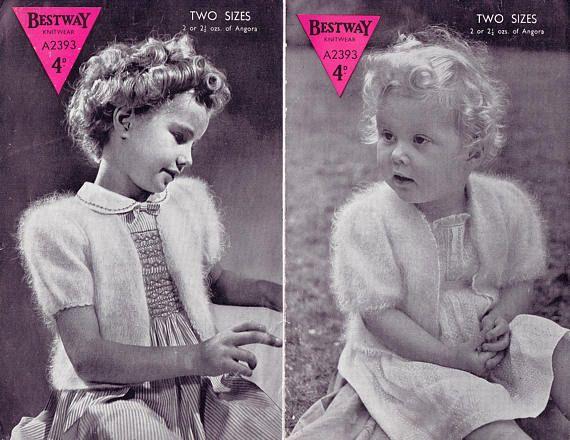 PDF Vintage 1950s Baby Girl 2 Bolero Knitting Pattern Bestway