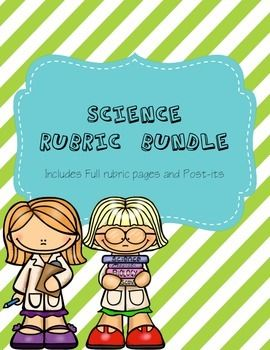 Science Notebook Rubric Bundle- Includes Rubric and Post-its for quick checks.