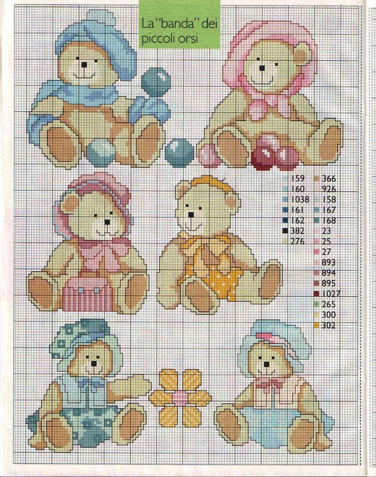 Amor-Perfeito-Amor: Ursos em ponto cruz