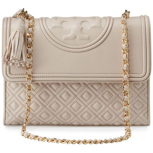 Tory Burch Fleming Quilted Convertible Shoulder Bag ($530) ❤ liked on Polyvore featuring bags, handbags, shoulder bags, bedrock, pink purse, shoulder handbags, quilted chain purse, quilted handbags and tory burch purse