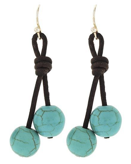 "Silver Tone / Turquoise Stone / Dark Brown Cord / Lead&nickel Compliant / Fish Hook / Dangle / Earring Set • Style No : 498159 • DROP LENGTH : 1 7/8"" • BROWN/TURQOISE"