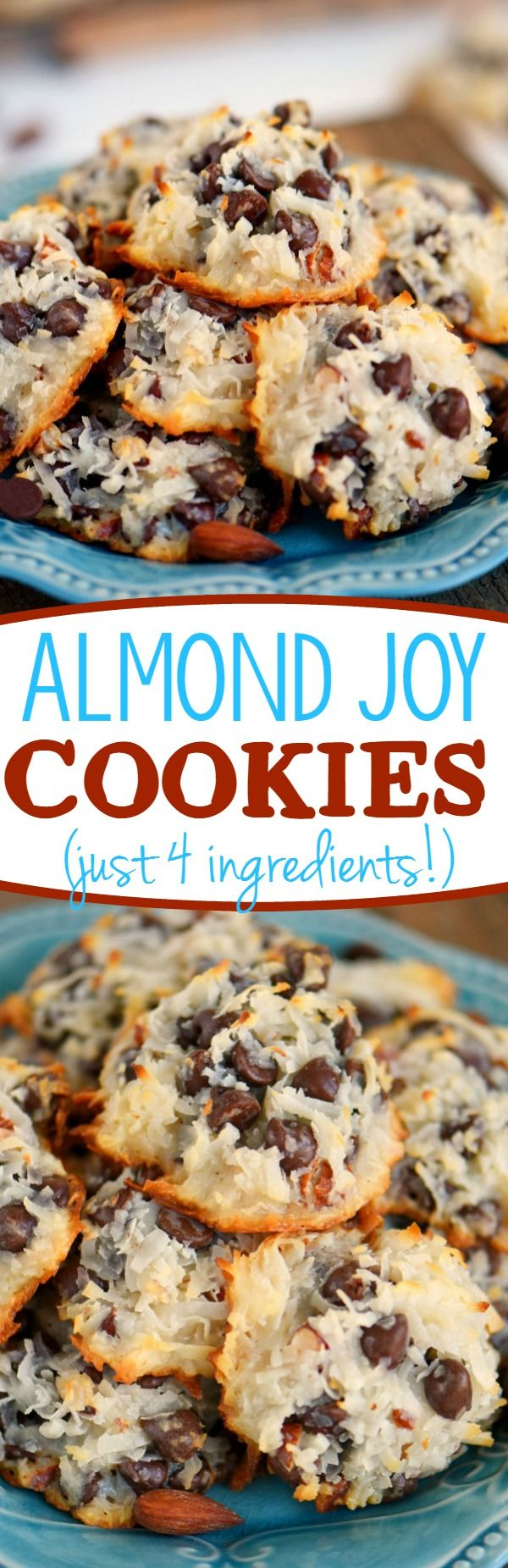 These easy Almond Joy Cookies take just four ingredients and don't even require a mixer! No beating, no chilling, just mix 'em up and throw 'em in the oven EASY! You're going to love these ooey gooey fabulous cookies! // Mom On Timeout #almondjoycookies #almond #coconut #chocolate #cookies #recipe #momontimeout