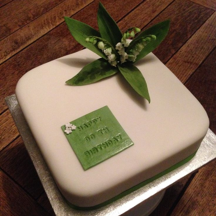 90th birthday cake with lily of the valley