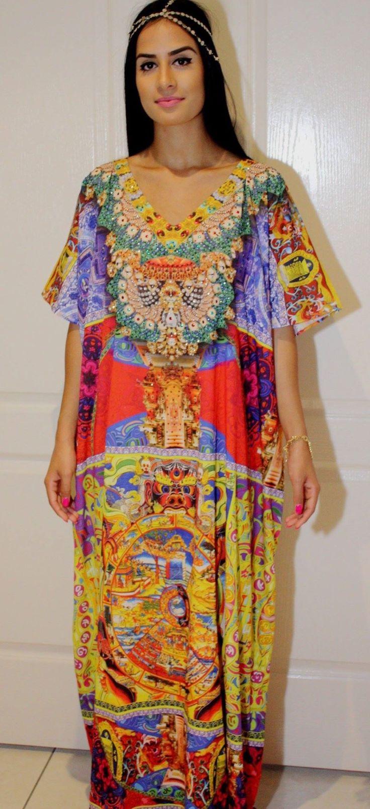 Circus print designer look kaftan.  www.kaftanallure.com