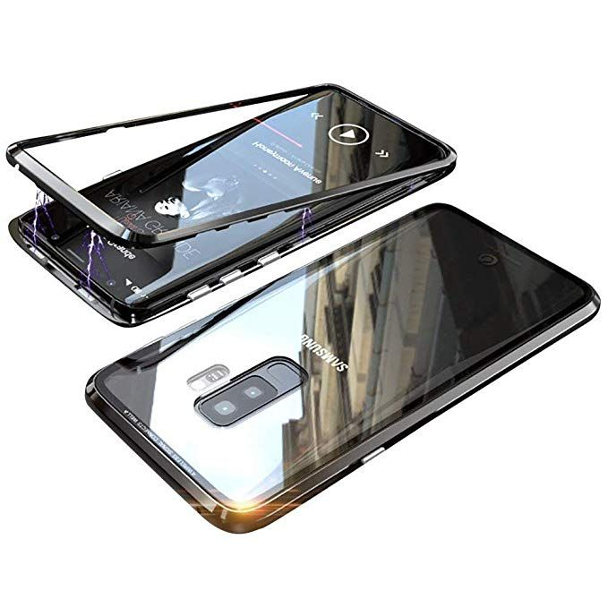 Amazon Com Magnetic Adsorption Samsung Galaxy S9 Case Luxury Shockproof Aluminum Metal Bumpertransp Protective Cases Samsung Galaxy S9 Phone Cases Protective