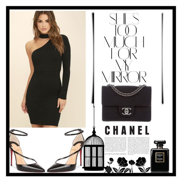 """total black"" by angelacerqua on Polyvore featuring LULUS, Rika, Christian Louboutin and Chanel"