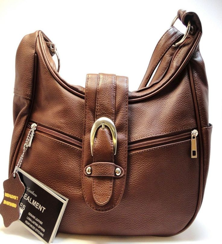 Brown leather concealed carry purse roma 7037