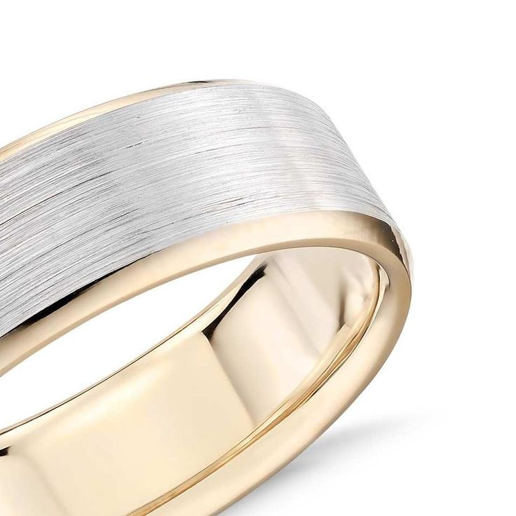 Brushed Beveled Edge Wedding Ring In 9k White And Yellow Gold (7mm) | The Diamond Channel, Johannesburg