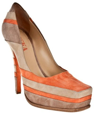 Orange, cream and grey stripe court shoes from Liska by Thomas Kirchgrabner featuring a square toe, with a hidden platform and a stiletto heel.