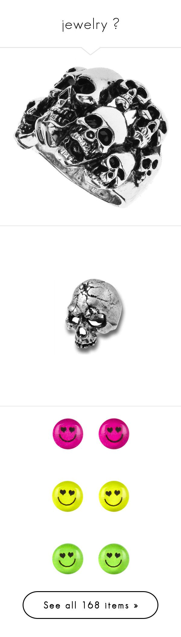 """""""jewelry 💍"""" by pinknlazy ❤ liked on Polyvore featuring jewelry, rings, accessories, women, skull jewelry, skull jewellery, skull rings, skull head ring, skull ring and earrings"""