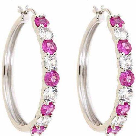 Created Pink sapphire and Created Pink sapphire Rhodium-Plated Earrings, Women's