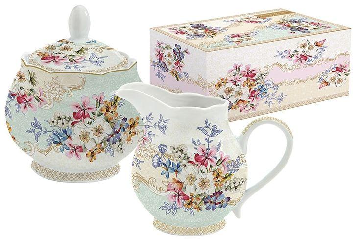 Набор: сахарница и молочник из фарфора «Восточный сад» в подарочной упаковке      Бренд: Easy Life (Nuova R2S) (Италия);   Страна производства: Китай;   Материал: фарфор;   Объем молочника: 250 мл;   Объем сахарницы: 250 мл;          #tea #porcelain #фарфор #посуда #чай