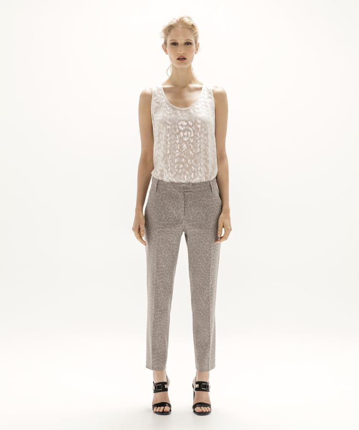 Metallic Tank - Silver and Cropped Trouser - Grey