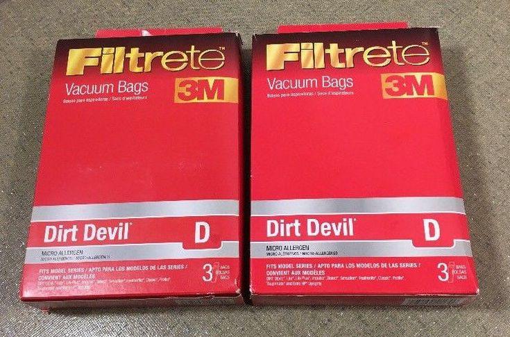 Lot of 2 Dirt Devil Vacuum Bags Type D 3M Filtrete 3 Pack 65701A - NEW in Box    #Filtrete