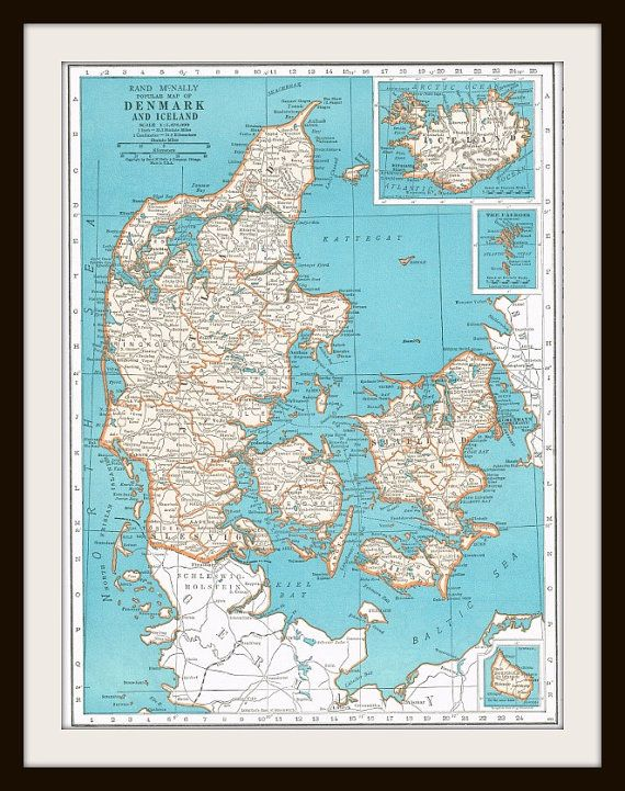 Antique Map - DENMARK & ICELAND  1947 by KnickofTime