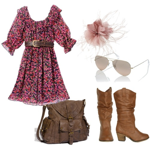 I really want boots!Country Girl Style, Country Girls Looks, Dresses Boots, Hair Explosions, Country Summer, Pretty Pink, Country Girls Style, Cute Outfits, Fall Outfit