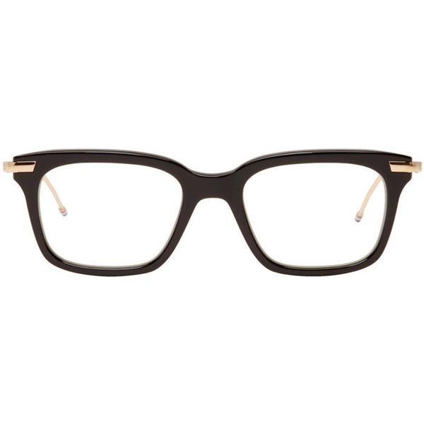 Thom Browne Black TB 701 Glasses ($530) ❤ liked on Polyvore featuring accessories, eyewear, eyeglasses, black, nose pads glasses, thom browne, square glasses, thom browne eyewear and square eyeglasses