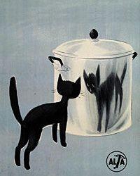 Vintage European Black Cat Poster by artcafe2008, via Flickr