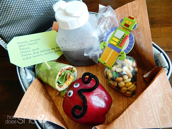 Adorable lunch ideas--need to kick things up a notch!  Love the knock knock jokes as a lunch surprise!  : )