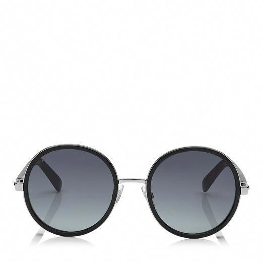 056b6f8d1556 JIMMY CHOO Andie/N/S 54 Black Acetate Round Framed Sunglasses With Silver Lurex  Detailing. #jimmychoo #a