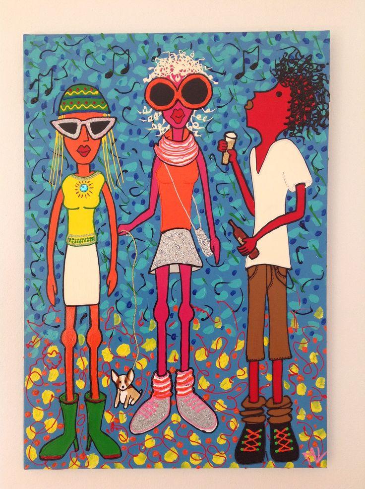 """"""" Let's Party"""" ! Op doek geschilderd 70 x 100 cm met acrylverf. Decoratie met glitter en steentjes."""