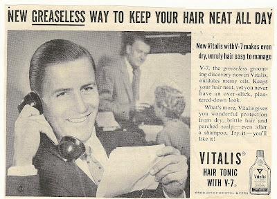 1950s or 60s ad: Vitalis Hair Tonic with V-7