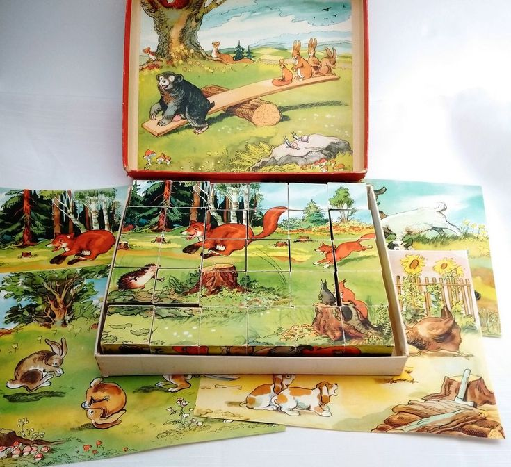 vintage 1960's animal scenes PICTURE Puzzle CUBES wooden blocks Complete in Box