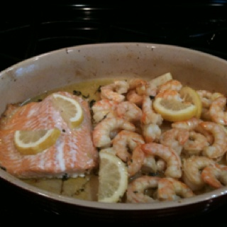 """Had this for dinner this week, garlic lemon shrimp. I served it over angel hair pasta - delicious !  Recipe on my """"want to make"""" board."""