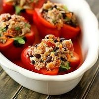 Quinoa-Stuffed Red Bell Peppers by Shape magazine