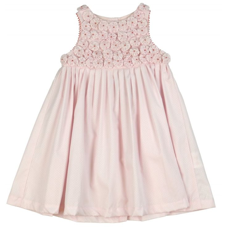 Baby Girls Pink Dress with Pink Flower Detailing. Now available at www.chocolateclothing.co.uk