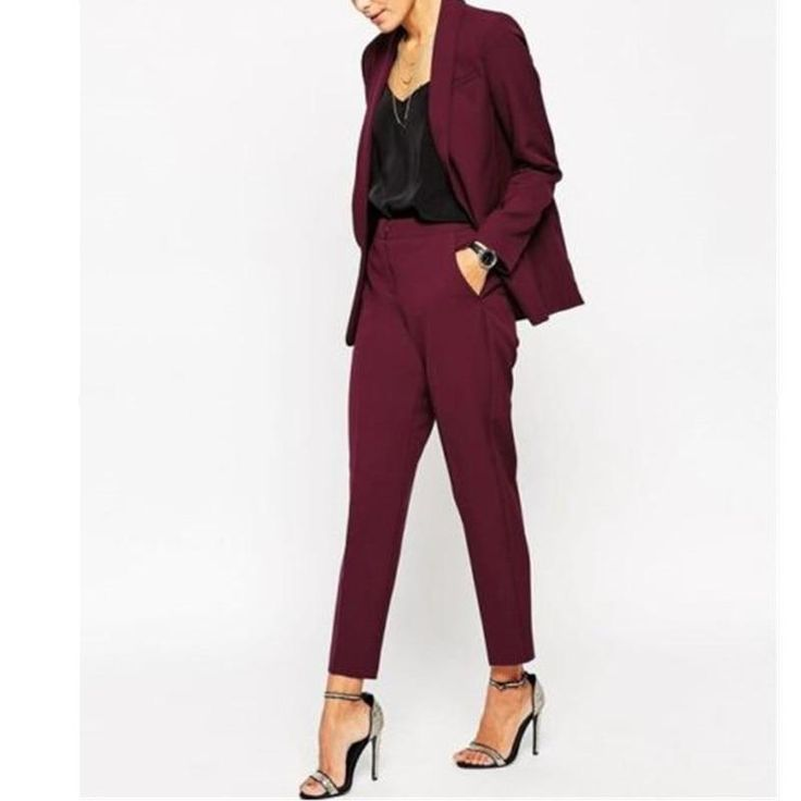 Women Pant Suits Women Burgundy Ladies Formal Custom Made Jacket + Pants Suits New Arrivals 9
