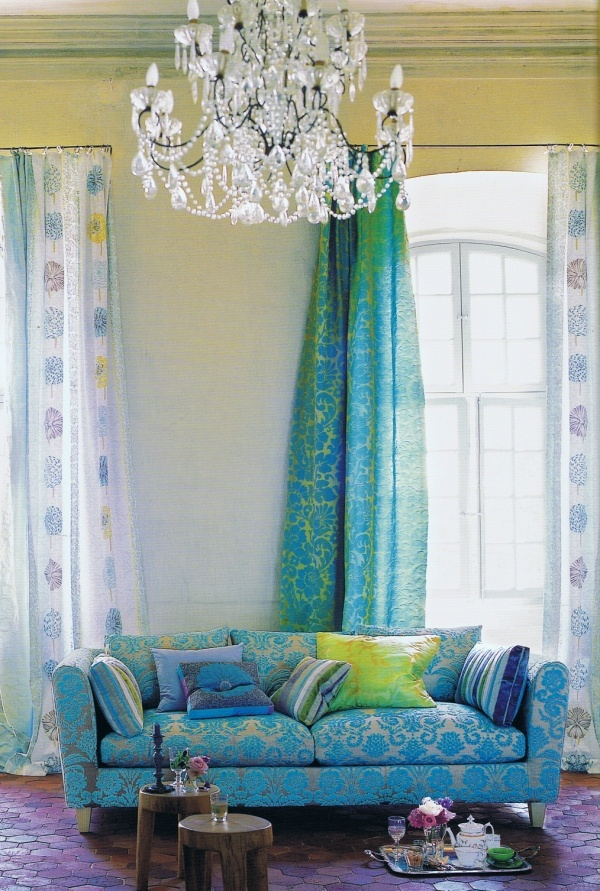 Tricia Guild fabrics. I love the crisp colour palette! Very energizing!