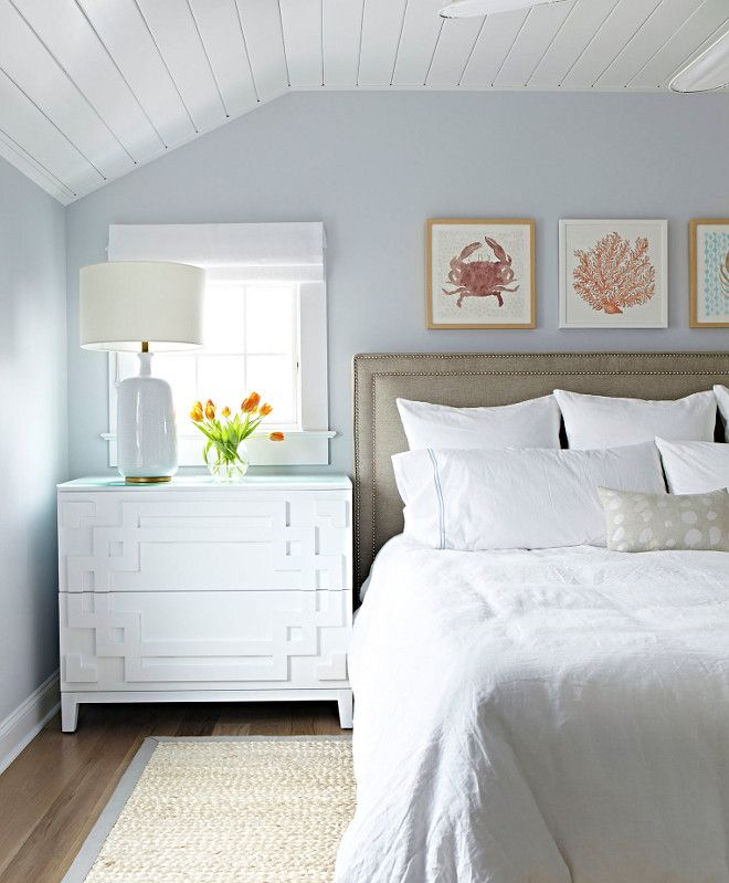 Painted Bedrooms. Blue Gray Paint Color  Benjamin Moore Mountainscape Beach Cottage with Crisp and Fresh Coastal Interiors 114 best Bedroom Sanctuaries images on Pinterest