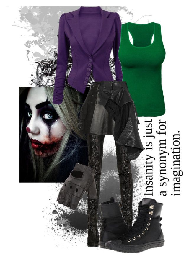 """""""The Joker"""" by riotofthedamned ❤ liked on Polyvore featuring A.F. Vandevorst, Mairi Mcdonald, Haider Ackermann, Converse, DC, thejoker and Descendants"""