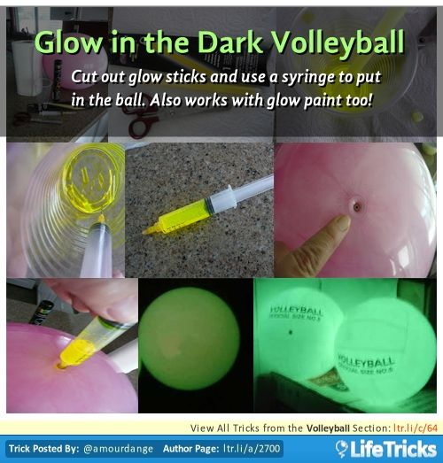 Cut out glow sticks and use a syringe to put in the ball. Also works with glow paint too!