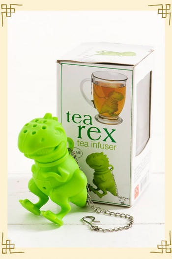 """A """"tea rex"""" tea infuser. Adorable isn't it? $12 at Francesca's Collection. A great gift for any tea lover."""
