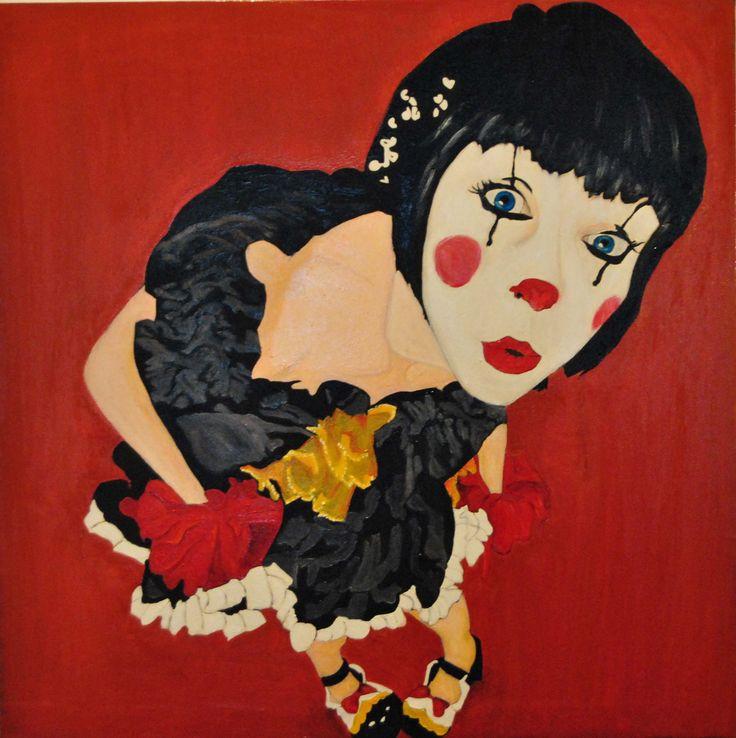 Chi c'è qui? - 2012 - olio su tela - cm. 80x80  Pittore curioso Andrea Albonetti