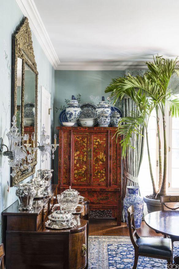 Chinoiserie dining - Robert Duffy Ferncliff Estate via Elle Decor.