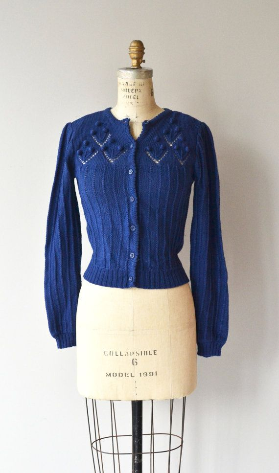 Vintage 1970s navy blue washable acrylic cardigan with lovely 1930s feel. Slight puffed bishop sleeves. --- M E A S U R E M E N T S --- fits like:
