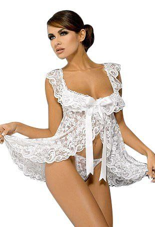 Kelly Badydoll Dress Set – White Women's Sexy Lingerie (Size:M, fit 8-12)