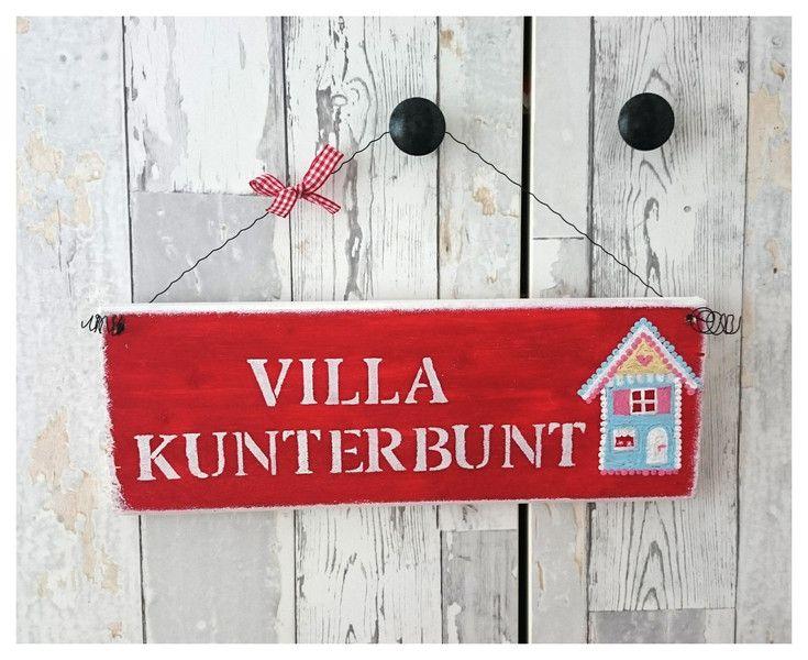 """Vintage Schilder - Schild """"Villa Kunterbunt""""  - ein Designerstück von Zuckerpuppen-Baeckerei bei DaWanda"""