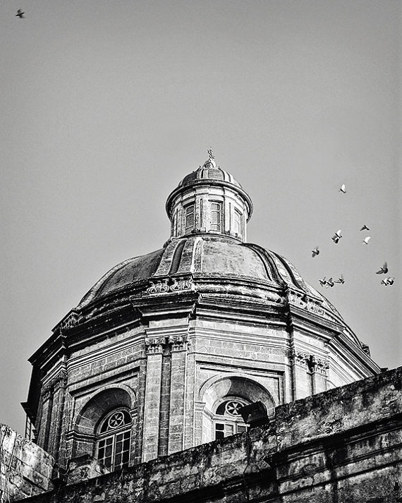 Items similar to church dome in malta fine art black and white photograph birds flying grey sky vittoriosa malta on etsy