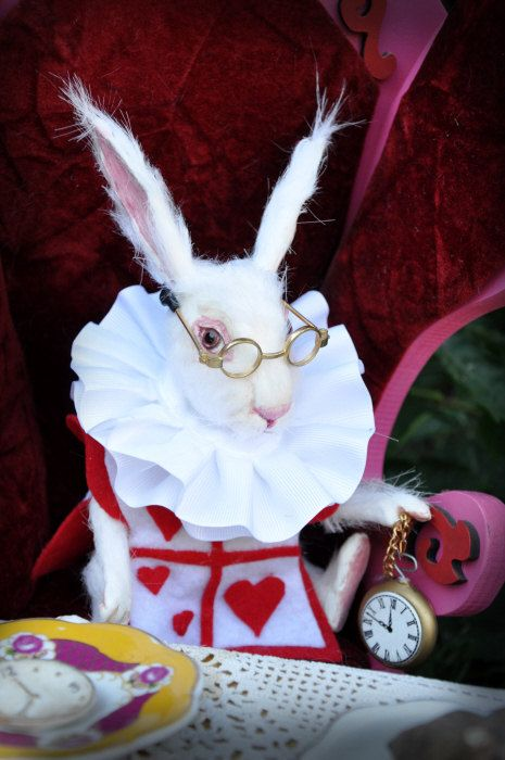 Pay Half Down Special Order   Jointed WHITE RABBIT doll* Special Order**Jennifer Sutherland* Alice in Wonderland
