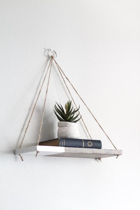Hanging Shelf / 1 REGULAR Two Tone Shelf   Hanging Shelves -Floating Shelf – Wood Shelf – Swing Shelf – Dip Dyed Shelf – Rustic Wood Shelf