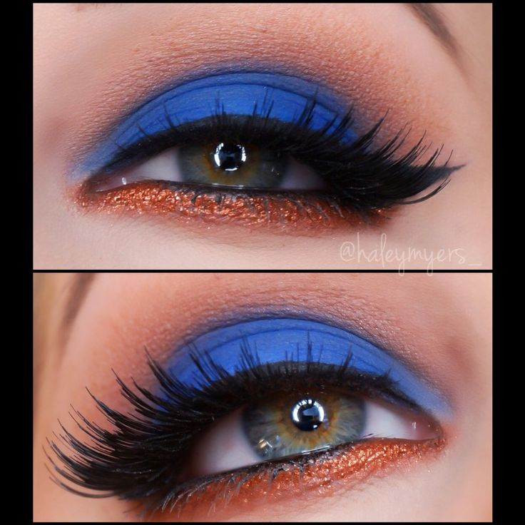 Vibrant 'Blue & Copper' look by HaleyMyers using Makeup Geek's Cocoa Bear, Corrupt, Creme Brulee, Neptune, and Peach Smoothie eyeshadows along with Immortal gel liner and Vegas Lights pigment!