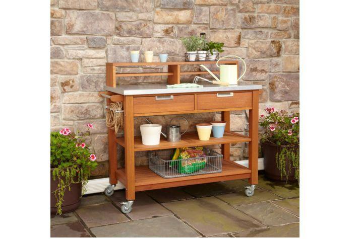 Garden Potting Bench Planting Table Natural Teak Rust Resistant Steel Station  #Unbranded